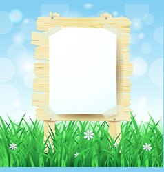 wooden sign on spring background vector image