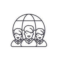 world market line icon concept world market vector image