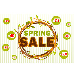 wreath of twigs with the word sale spring vector image