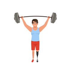 Young man with artificial leg holding barbell over vector
