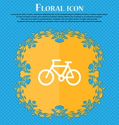 Bicycle icon sign Floral flat design on a blue vector image