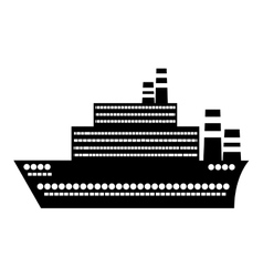 black silhouette big cruise ship design flat icon vector image vector image