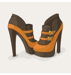 Brown and yellow ankle boots vector image
