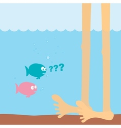 cartoon fishes and foots vector image