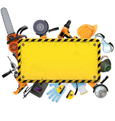 Old Yellow Frame with Tools vector image vector image