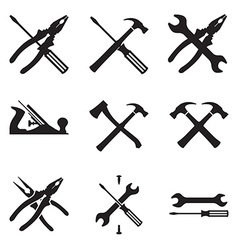 Tools icon set Icons isolated on white background vector image
