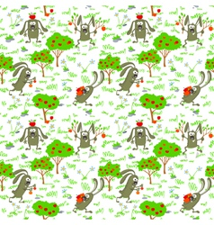 bunnies and apples vector image vector image