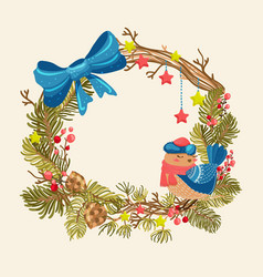 christmas background with beautiful wreath bird vector image