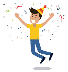 man cheerful dance party confetti vector image vector image
