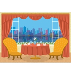 Restaurant with city view vector image vector image