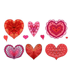 set of red and pink doodle hearts decorated boho vector image vector image