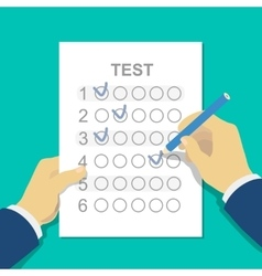 Answers to exam test answer sheet with pencil and vector image vector image