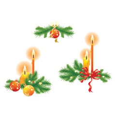 candles and fir branches vector image