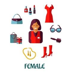 Female shopping flat icons vector image