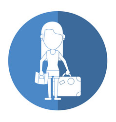 Girl map travel suitcase shadow vector