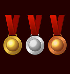 gold silver and bronze medal icon set vector image vector image