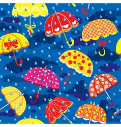 seamless pattern with colorful umbrellas clouds an vector image vector image