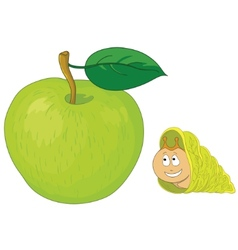 snail on apple vector image vector image