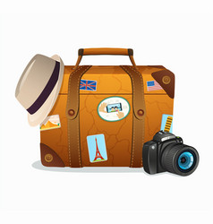 vintage travel suitcase with tickers vector image