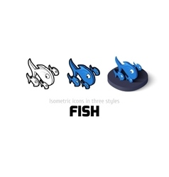 Fish icon in different style vector image