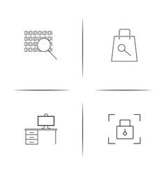 Internet security simple linear icon setsimple vector