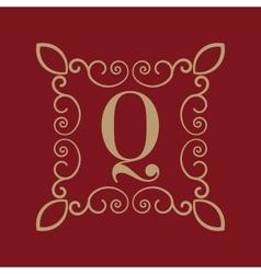 Monogram letter q calligraphic ornament gold vector