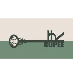 Rupee Symbol on key vector image vector image