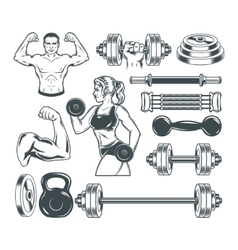Set icons for bodybuilding isolated on white vector image