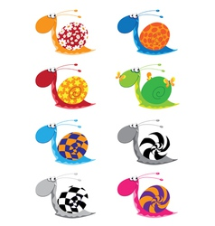 snail funny set vector image vector image