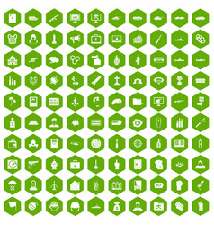 100 war icons hexagon green vector