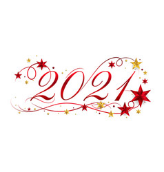 2021 happy new year lettering banner design with vector image