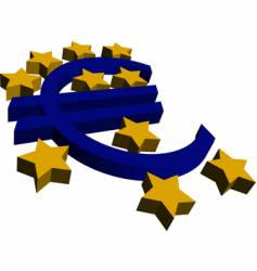 3d euro and stars vector