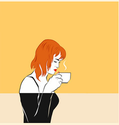 A red-haired girl sniffing coffee cup by the face vector