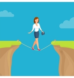 Abyss gap concept with woman sky and clouds vector image