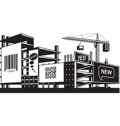 Advertising panels on construction of a building vector