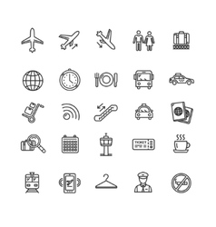 airport outline icon set vector image