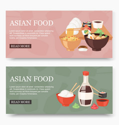 Asian food set banners vector