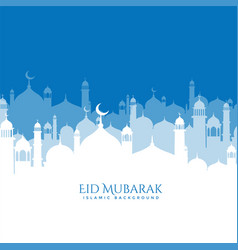 Beautiful mosque scene eid mubarak background vector