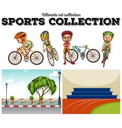 Bikers with bicycle and racing scenes vector