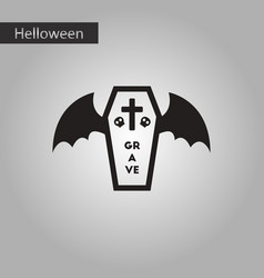 Black and white style icon halloween wings coffin vector