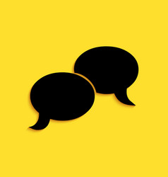 Black blank speech bubbles icon isolated on yellow vector