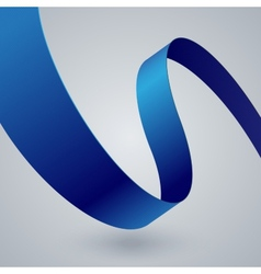 Blue fabric curved ribbon on grey background vector image