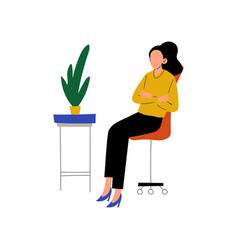 businesswoman sitting in chair with folded hands vector image