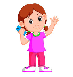 cartoon girl using a smart phone vector image