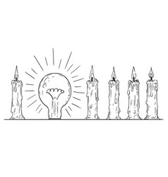 Cartoon of shining light bulb in row of candles vector
