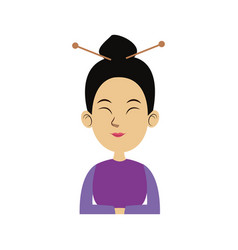 character woman cartoon japanese oriental clothing vector image