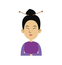 Character woman cartoon japanese oriental clothing vector