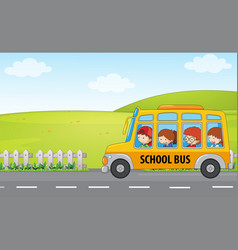 Children ride school bus vector