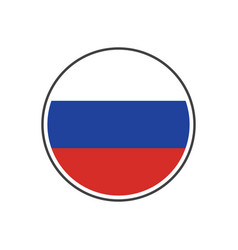 circle russia flag with icon isolated on white vector image