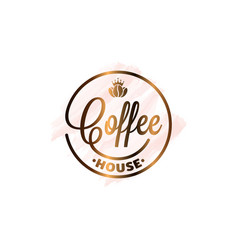 coffee cup watercolor logo on white background vector image